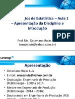 Aula 1 - Fundamentos de Estatística - Apresentação Da Disciplina e Introdução