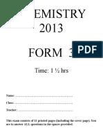 Chemistry Exam Term 2 2013