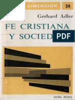 Adler, Gerhard - Fe Cristiana y Sociedad
