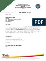 Notice of Award