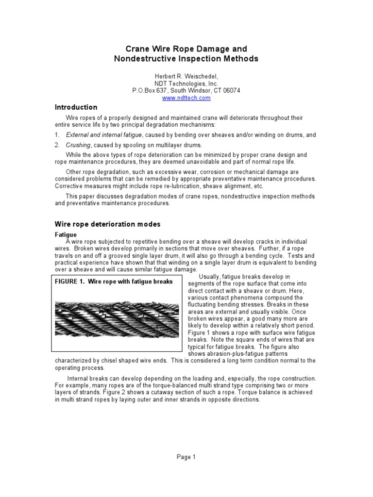 Exelent Wire Rope Damage Inspection Component - Electrical Diagram ...