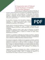 Del Convenio de Cooperación entre el Tribunal Supremo Electoral de Honduras y el Instituto Interamericano de Derechos Humanos
