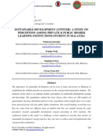 Sustainable Development Attitude- A Study on Perception Among Private & Public Higher Learning Institutions Student in Malaysia