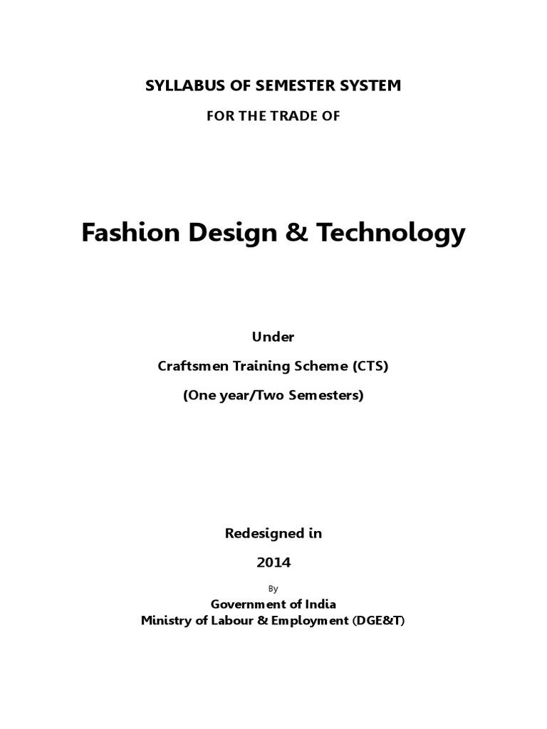Fashion Design Technology Cts 1 1 Pdf Weaving Textiles