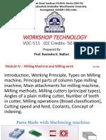 Module IV–Milling Machine