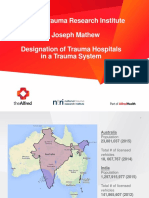 Dr Joseph Mathew	Designation of Trauma Hospitals in a Trauma System
