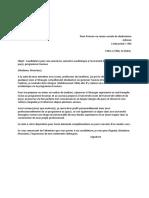 Candidature Pour Une Annéeun Semestre Académique à l'Université de (Université Ciblée Et Pays), Programme Erasmus