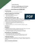 Plan de Formación Nacional JUFRA 2011