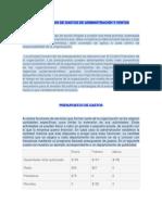 Presupuestos de Gastos de Administración y Ventas