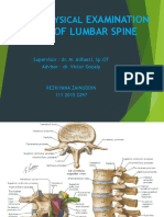 Physical Examination of Lumbar Spine