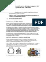 Arranque y Operación de Un Motor Monofasico Con Condesador de Arranque