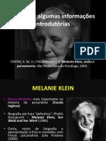AULA 01 - Informaçãos Introdutórias. Klein, Psicanálise e Motimvento Psicanalítico