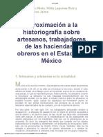 Aproximación a la historiografía sobre artesanos, trabajadores de las haciendas y obreros en el Estado de México