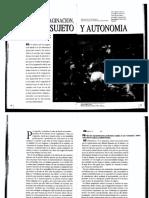 CASTORIADIS Psique, Imaginación, Sujeto y Autonomía
