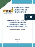 Directiva Nª001 2016 Mdh Aprobado r.a.406 2016