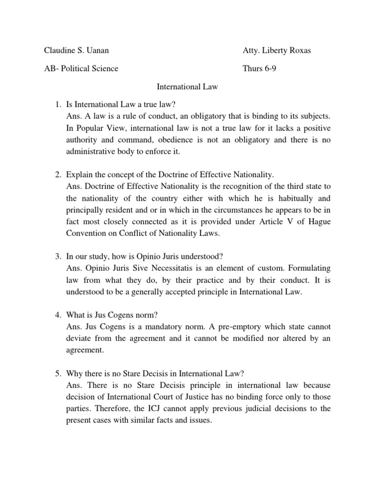 International Law International Law Precedent