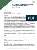 Reglamento a La Ley Organica Del Sistema Nacional de Registro de Datos Publicos