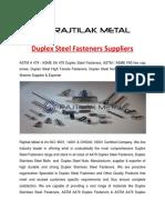 Duplex Steel Fasteners Suppliers