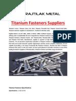 Titanium Fasteners Suppliers