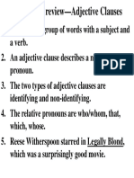 Adjective Clauses Review Ex Answer Key