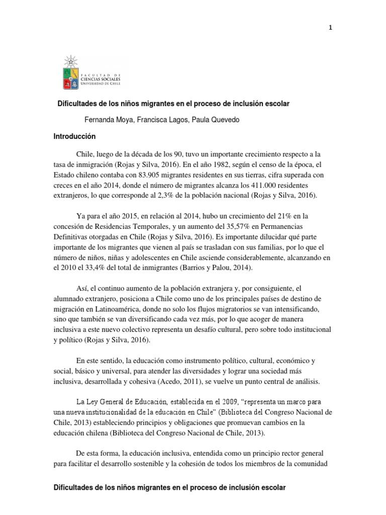 Dificultades de Los Niños Migrantes en El Proceso de Inclusión Escolar