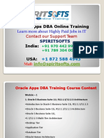 Spiritsofts provides Online Training for ORACLE APPS DBA in HYDERABAD INDIA, CANADA, USA, UK, UAE, AUSTRALIA  and  many more.