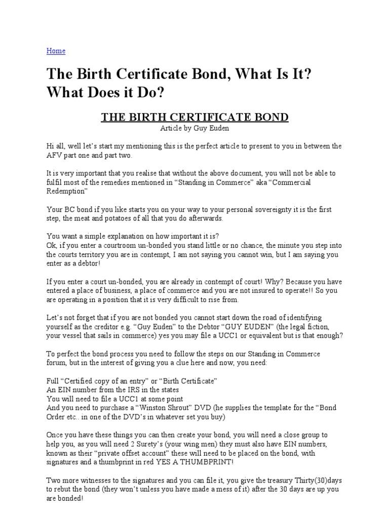 Birth Bond Surety Bond Indemnity
