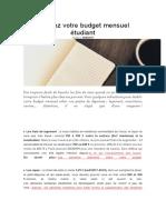 Evaluez Votre Budget Mensuel Étudiant