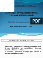 Cálculo Distribuição Binomial, Poisson e Normal No Excel