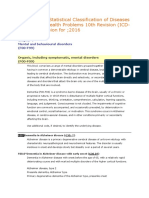 International Statistical Classification of Diseases and Related Health Problems 10th Revision (Mental Problem)