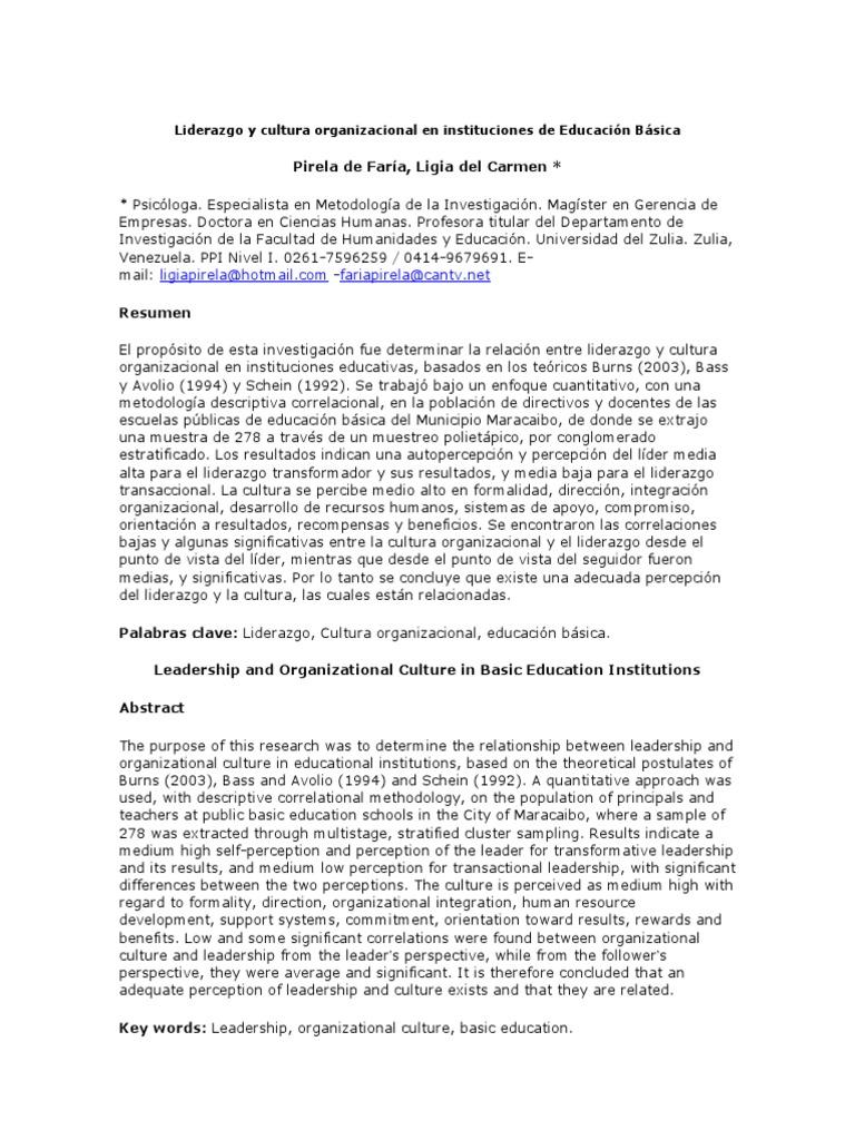 Liderazgo y Cultura Organizacional en Instituciones de Educación ...