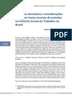 Trabalho Doméstico - Considerações Sobre Um Tema Recente de Estudos Na História Social Do Trabalho No Brasil
