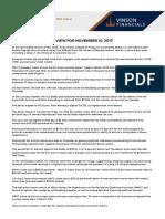 Financial Market Review for November 10 2017 Vinson Financials