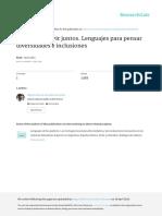 Aprender a Vivir Juntos, Lenguajes Para Pensar Diversidades e Inclusiones. Miguel Alberto González González, F, Abril 2016