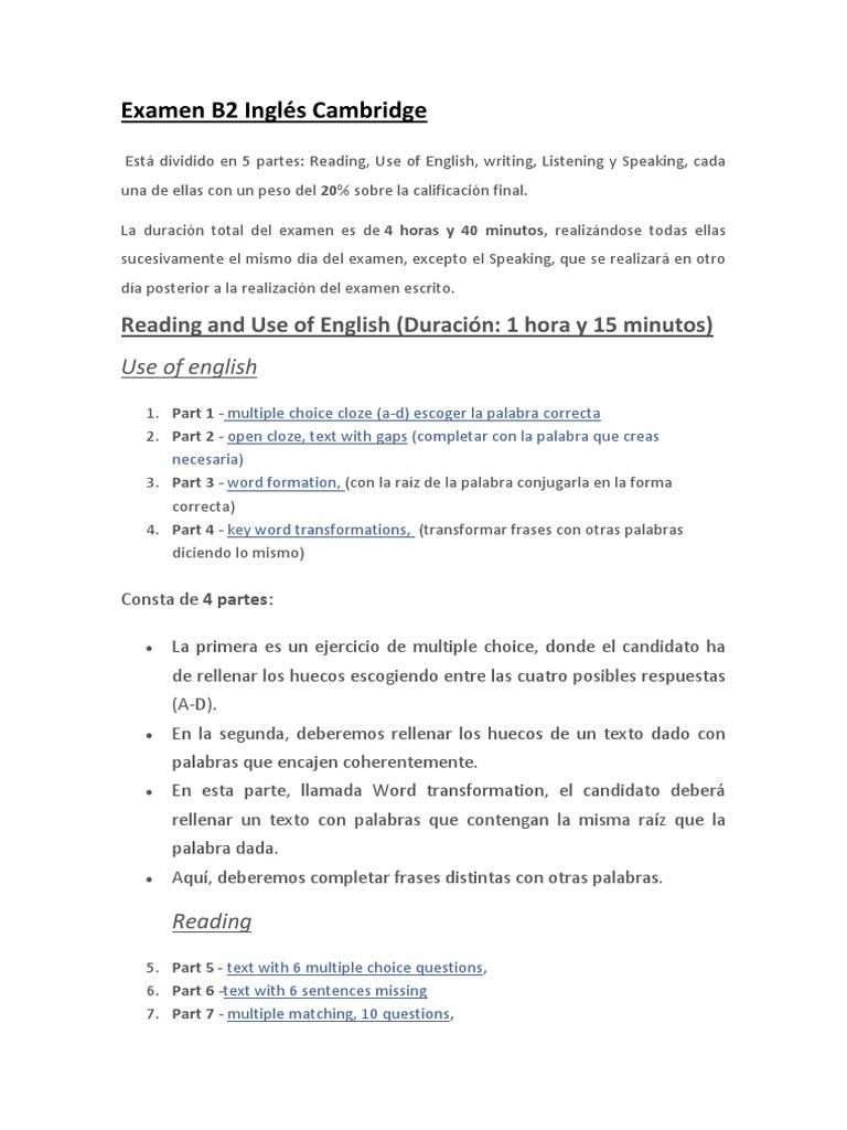 Examen B2 Inglés Cambridge Morfología Lingüística Mecánica Del Lenguaje