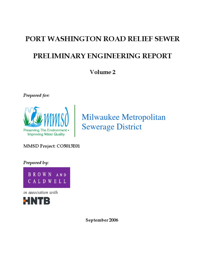 Port Washington Road Relief Sewer Preliminary Engineering Report