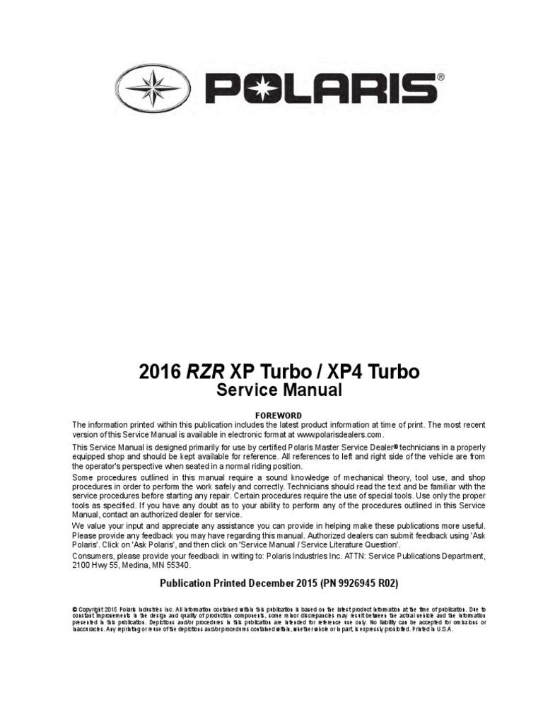Manual Polaris Xp Turbo   Screw   Transmission (Mechanics)