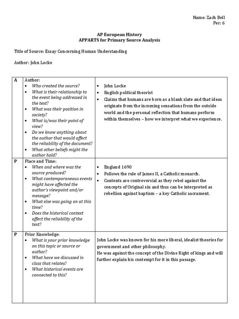 Essay Concerning Human Understanding APPARTS | John Locke | Original Sin
