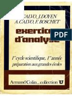 Calvo Bernard Exercices Danalyse 1er Cycle Scientifique Préparation Aux Grandes Écoles 1ère Année