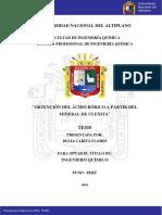 """""""OBTENCIÓN DEL ÁCIDO BÓRICO A PARTIR DEL MINERAL DE ULEXITA"""""""