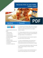 Macarrones Doria Con Carne Molida, Arvejas y Tomate