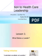 Introduction to Health Care Leadership