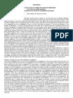 Badiou - Intervention dans le cadre du Collège international de philosophie sur le livre de Giorgio Agamben