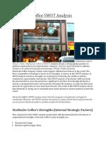 Starbucks Coffee SWOT Analysis