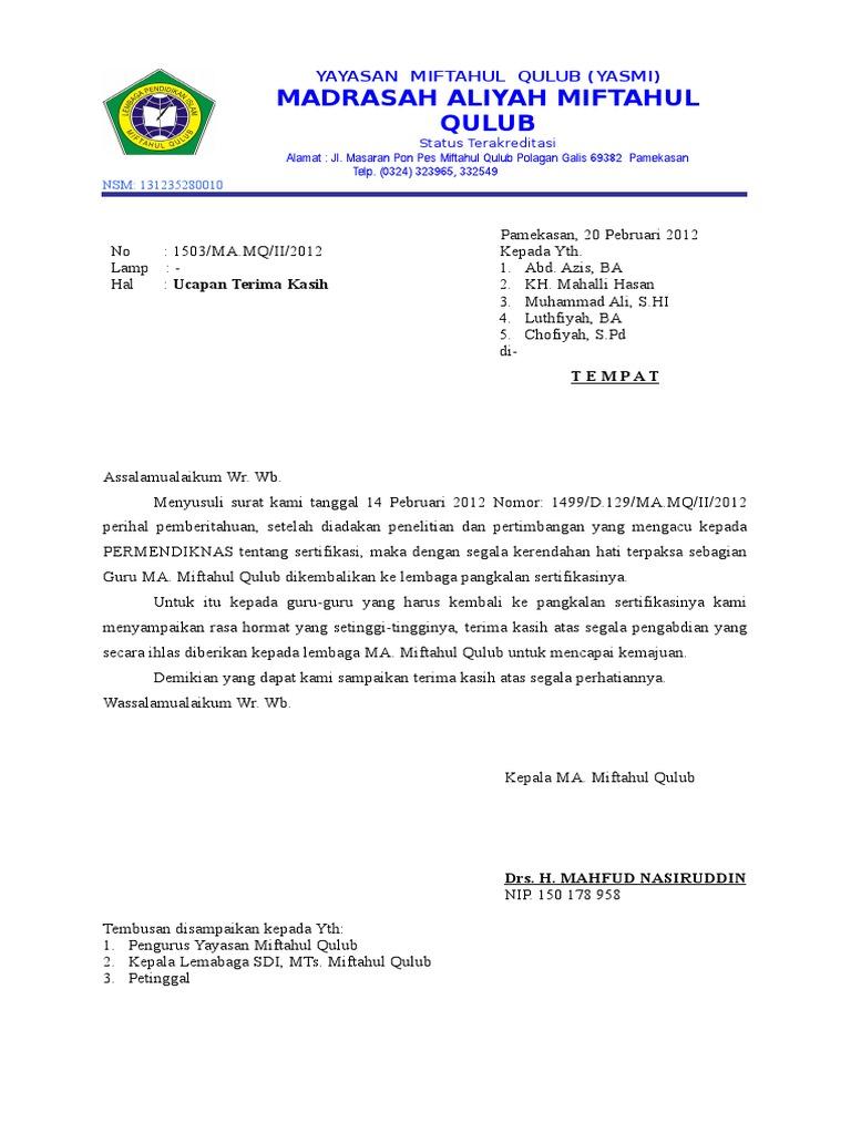 Contoh Surat Pemberhentian Kerja Guru Dari Kepala Sekolah Contoh Seputar Surat