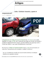 Acidente de Trânsito Colisão Traseira, Quem é Responsável  Artigos JusBrasil