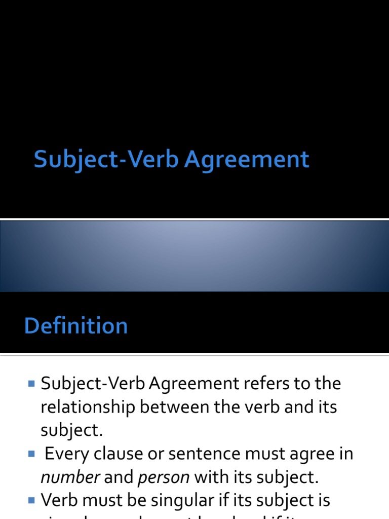 Subject Verb Agreement Plus Grammatical Number Verb