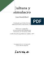 Cultura y Simulacro Jean Baudrillard