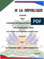 Rapport de la Commission Senatoriale du Senat d'Haiti Sur le Programme Petro Caribe 2017
