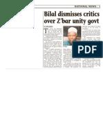 Bilal Dismisses Critics Over Zanzibar Unity Government